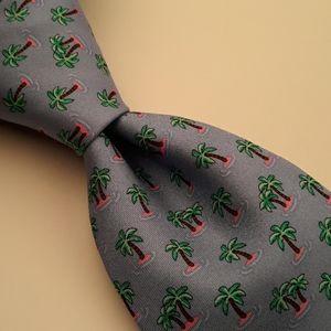 BROOKS BROTHERS Light Blue Palm Trees Silk Tie